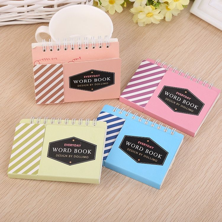 Korean language learning  simple creative color word of the two-way notebook memory student stationery 0226