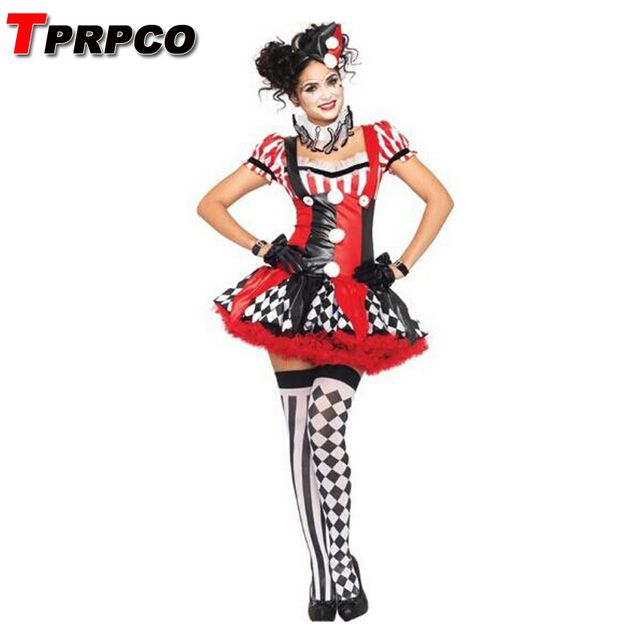 TPRPCO Funny Harley Quinn Costume Women Adult Clown Circus Cosplay Carnival Halloween Costumes For Women NL163