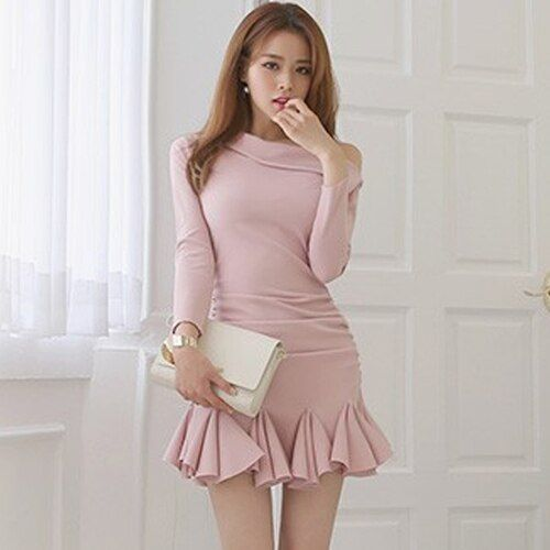 Women Dresses 2017 Spring Sweet Pink Color Knitted Cotton Off Shoulder Ruffles Mermaid Short Dress Korean Fashion Clothing