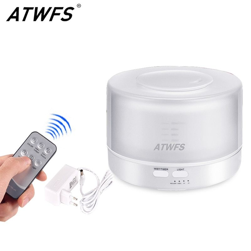 ATWFS Remote Control Ultrasonic Essential Oil Diffuser Air Humidifier Aroma Diffuser Fogger 7 Color LED Aromatherapy Mist Maker