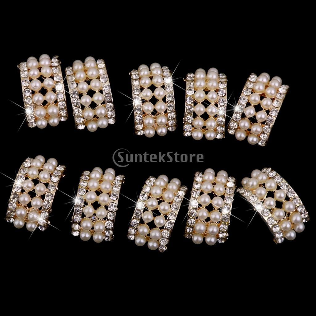 10 Assorted Gold Crystal Rhinestone Button Brooch Bouquet Pearl Crystal