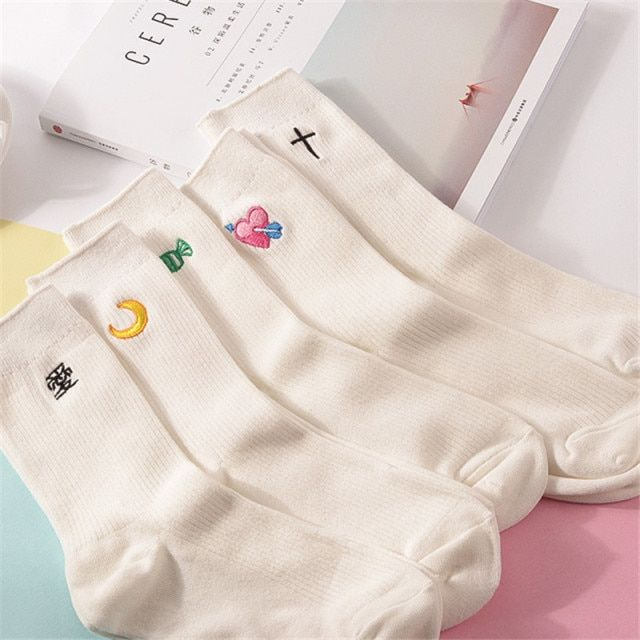 12pairs kawaii Women Embroidery White Socks Women's Cute Candy Moon Crossing Heart Chinese Love Korean Love Pattern Cotton Sock