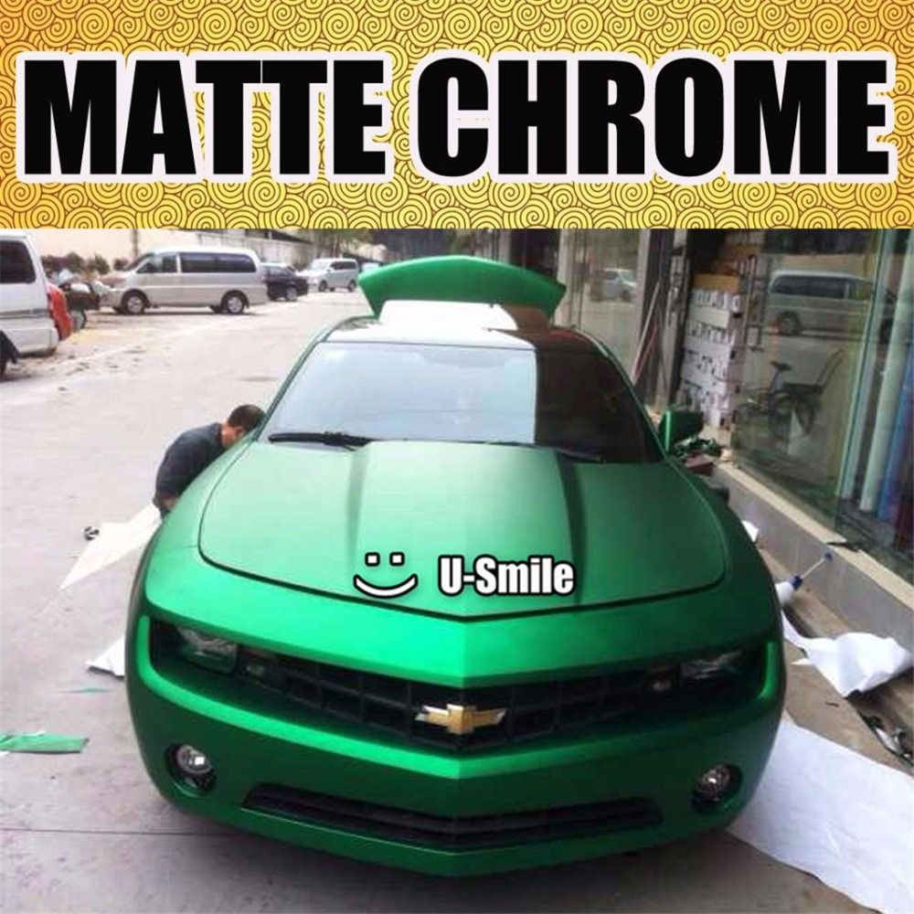Premium Matte Satin Chrome Green Vinyl Wrap Film Roll Sticker Bubble Free Car Styling