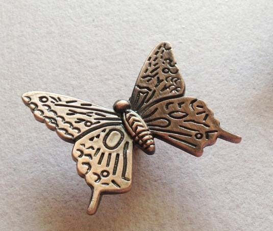 Vintage Butterfly Handle Antique Cabinet Drawer Pull- Furniture Hardware Dresser Pull - Butterflies Nursery Decor Knobs