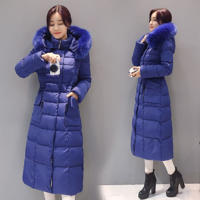 2016 New Winter Coat Women Fur Collar Hooded Long Jacket Women's Long Down Cotton Coats and Jackets Parka Plus Size XXXXL