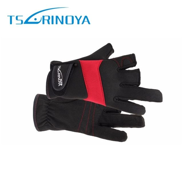 Tsurinoya Half Finger Three Fingers Anti-Slip Glove Fishing Lure Riding Glove Waterproof Warm Durable Gloves For Outdoor Fishing
