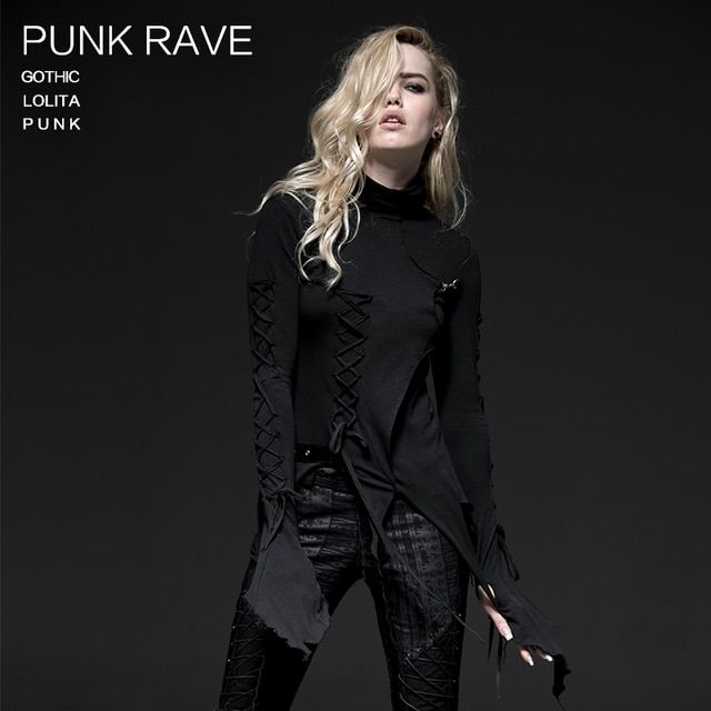 2016 Punk Rave Retro Punk Rockabilly Gothic Bandage Vintage Top Shirt Cotton Women fashion S-4XL