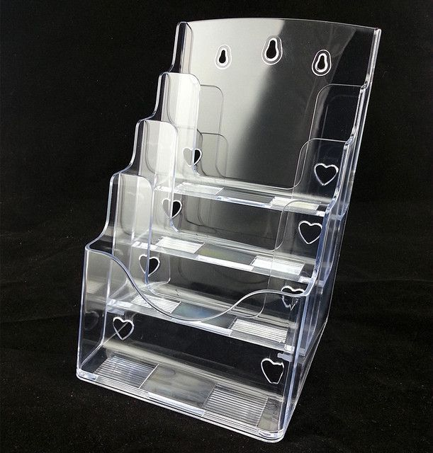Clear A4 4 Tiers Plastic Acrylic Brochure Literature Pamphlet Leaflet Display Holder Racks Stand On Desktop 2pcs