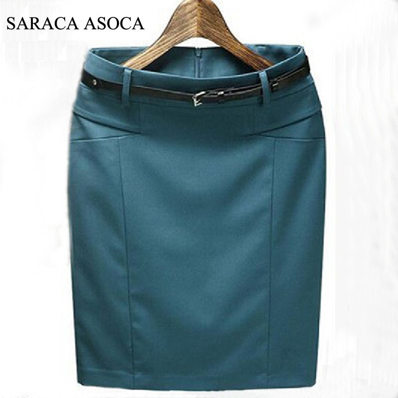New Style Spring Summer Slim Hip Straight Formal Skirts Fashion Women's Plus Size XXXL Cotton Work Pencil Skirt Ladies