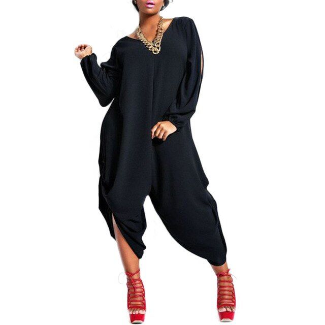 2016 Plus Size XL/XXL/XXXL/XXXXL Summer Autumn style women V Neck Chiffon Casual Jumpsuit Rompers Playsuit Overalls Loose