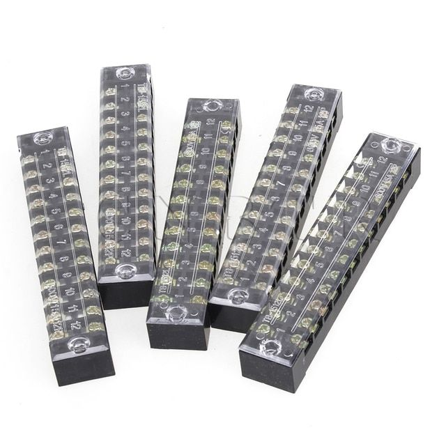 CNBTR  5pcs 600V 15A Dual Row 12 Positions Screw Terminal Electric Barrier Strip Block
