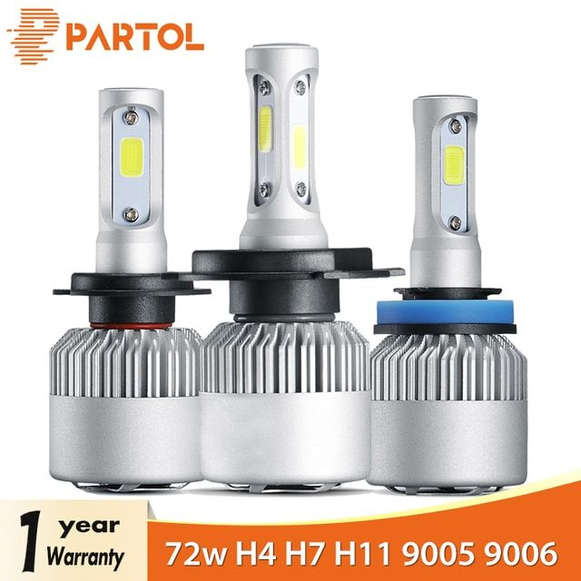 Partol H4 Car LED Headlight Bulbs 72W 8000LM H7 LED H11 Auto LED H1 Headlamp 9005 9006 Car Lights Automobile Headlamp 6500K 12V
