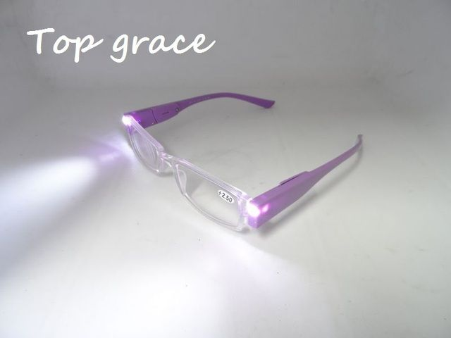 Top Grace Brand Led reading glasses Men Women eyeglasses readers with battery and lights for promotion and for the elder