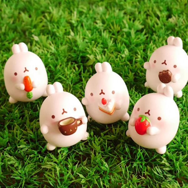 5 pcs/set Lovely Cute Molang Rabbit PVC Model Badge Reel Pendants  5cm  2 Styles Other Office & School Supplies