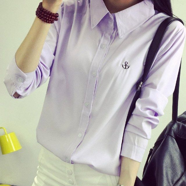 2017 Autumn Women Casual Work Blouse Long Sleeve Shirt Young Lady Plus Size Tops White
