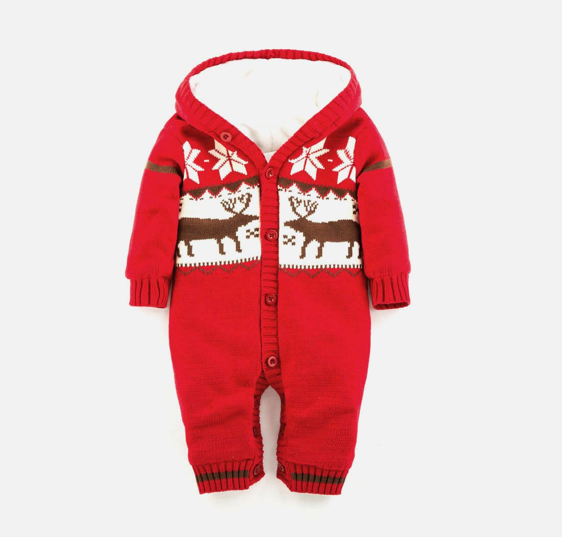 newborn baby Christmas child fleece winter thickening baby bodysuit romper for girls and boys one-piece