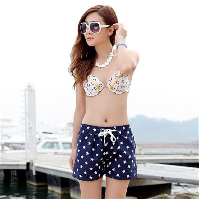 2016 fashion ladies summer cotton banana flower embroidery stars's shorts Top short shorts