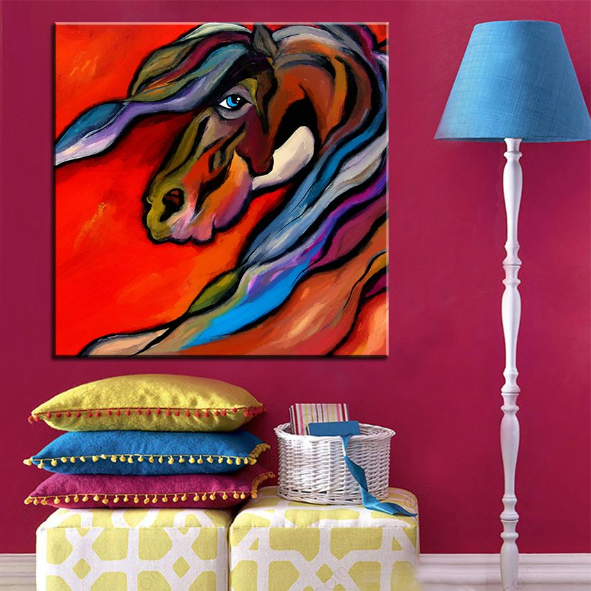 Large size Printing Oil Painting carousel horse Wall painting POP Art Wall Art Picture For Living Room painting No Frame