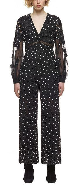 High Quality Women Black White Daisy Dot Jumpsuit Wide Legs Fashion Long Sleeve Runway Clothing Faux Two Pieces  Jm1