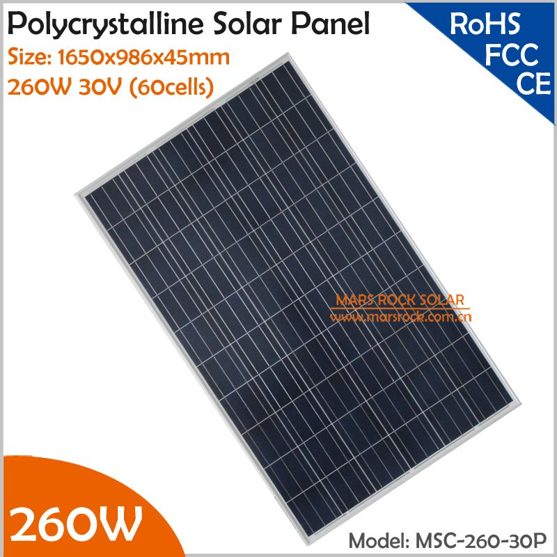260W Polycrystalline Solar Panel 30V (60cells) with Size 1650x986x45mm for Grid Tie or Off Grid Solar Power System