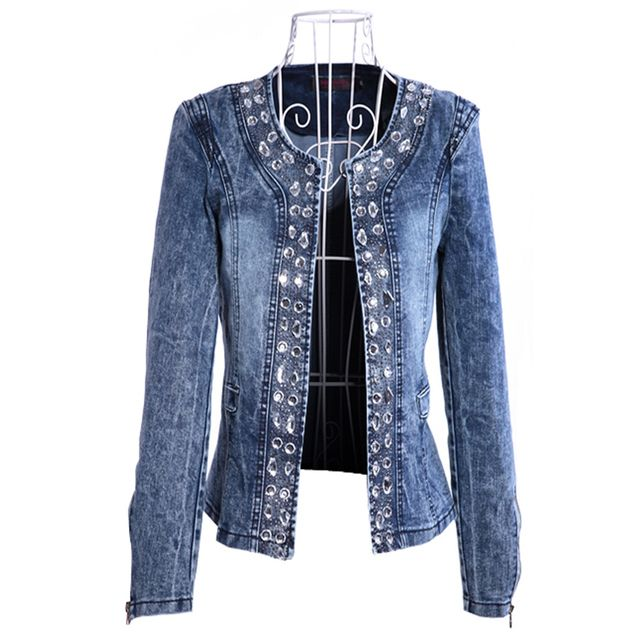 LinsDenim Jacket Coat Women Denim Big Size Top Jacket With Rhinestone Sequins O-neck Denim Female Basic Jackets