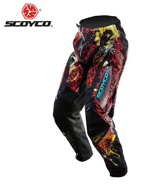 SCOYCO Professional Motorcycle Motocross Off-Road Racing Pants Breathable Dirt Bike MTB DH MX Riding Hip Pads Trousers Clothing