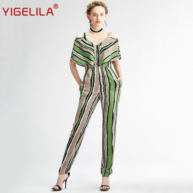YIGELILA Brand 5311 Latest New Women Fashion Casual Striped Full Length Sexy V-neck Summer Jumpsuit