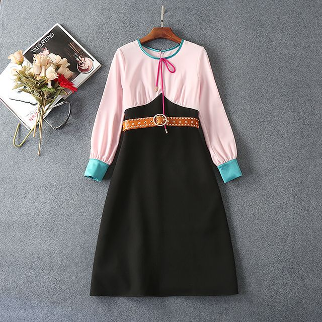 Autumn Spring Dress New Fashion 2016 Woman Pink Black Color Block Long Sleeve Dress With Beading Belts Party Celebrities