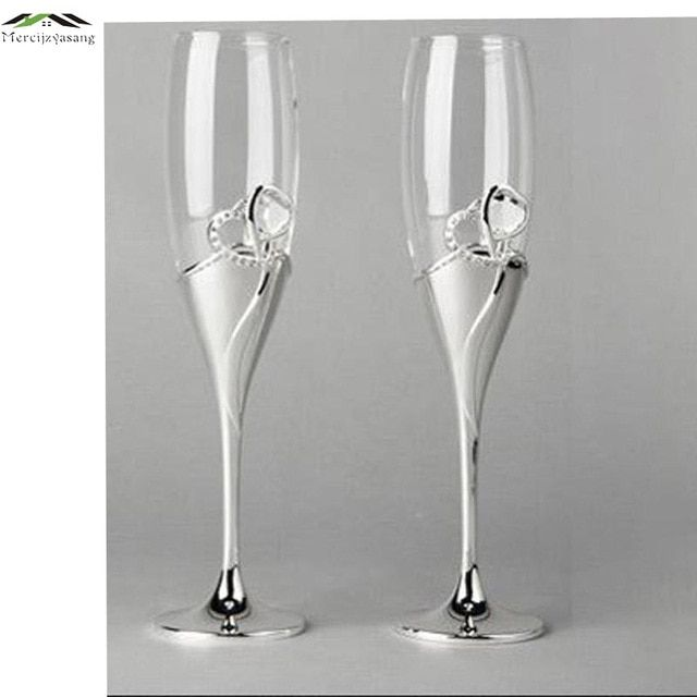 2pcs Silver plated metal champagne flutes red wine glass for wedding brandy goblet drinking glasses stemware cup taza de vidrio