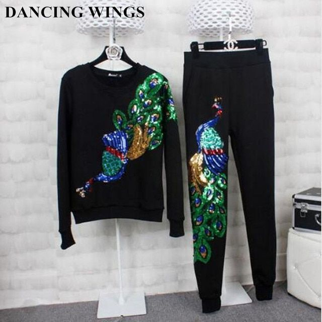 Autumn And Winter Womens Sweatshirts Round Neck Long-sleeved Embroidered Peacock Sequin Suit Plus Thick Velvet Pants Female TZ-7