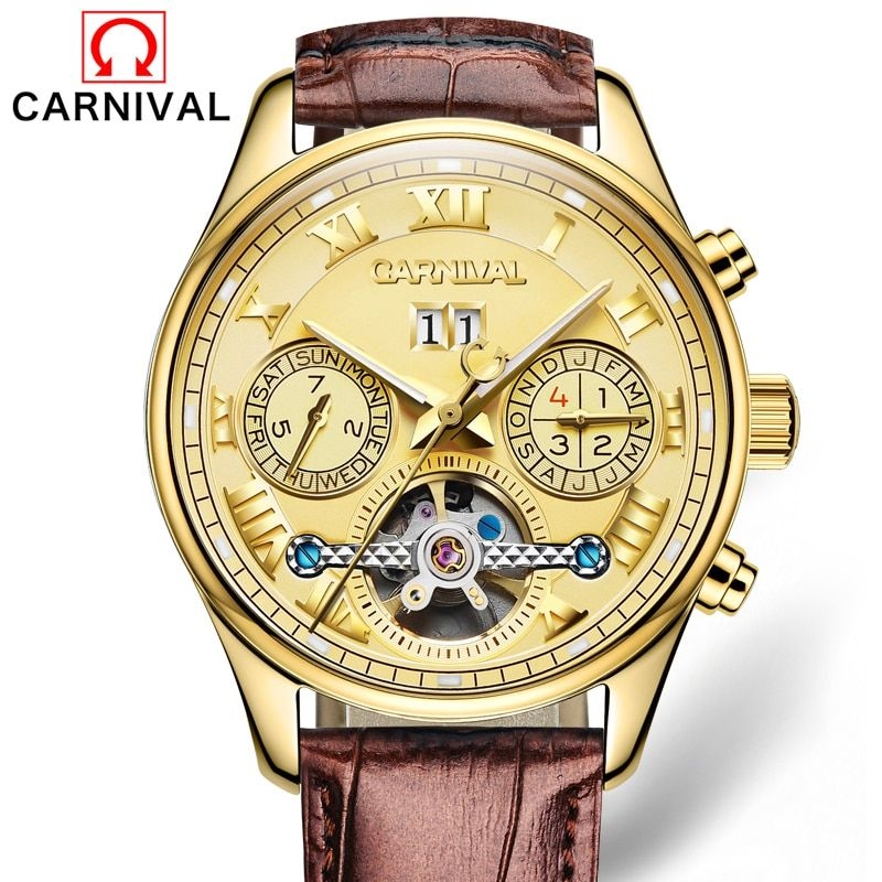 CARNIVAL New Mechanical Watch Men Fashion Hollow Tourbillon Wrist Watches Male Waterproof Automatic Clock relogio automatico