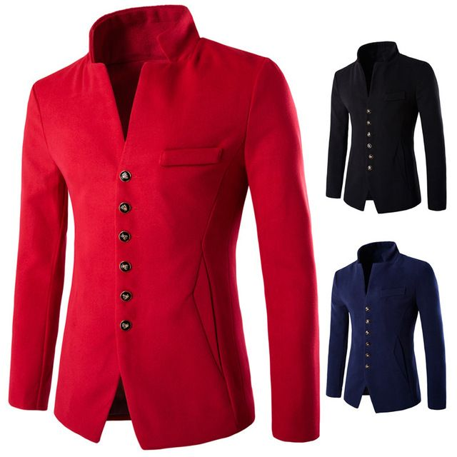 Pocket Decorative Fashion Woolen Leisure Suit Jacket New Arrive Cool Single-Breasted Dress Blazer Slim Fit Brand Clothing