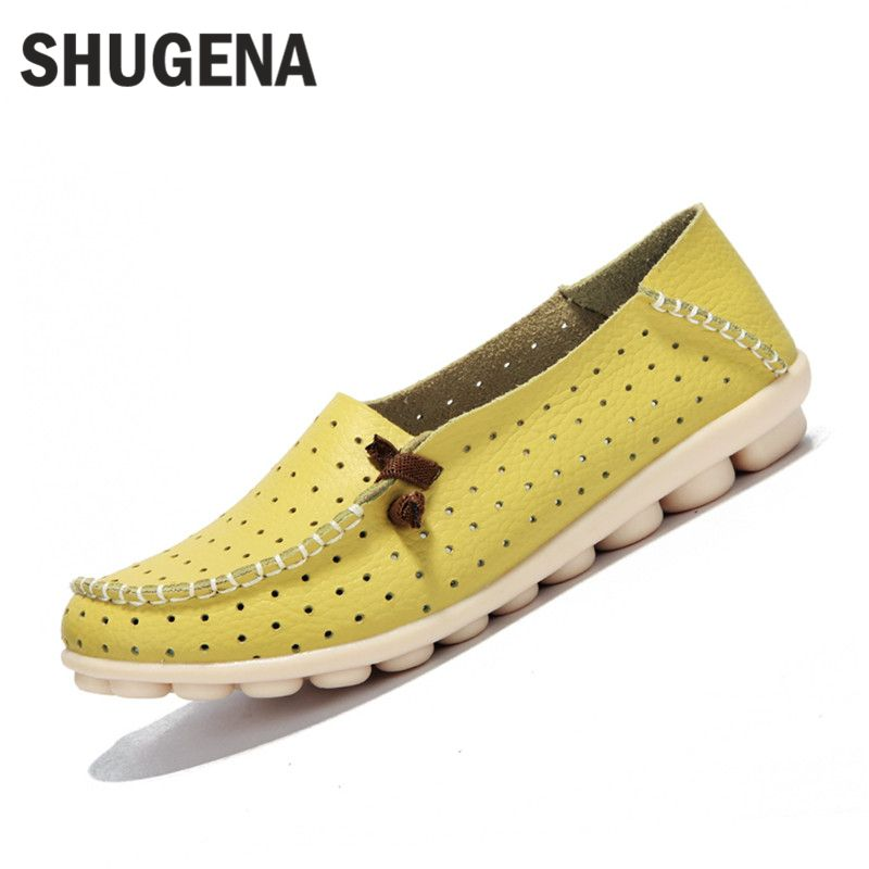 A Genuine leather summer women flats shoes female casual flat shoes women loafers shoes slips soft leather red flat women shoes