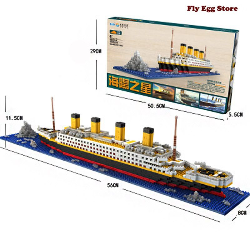 1860pcs Blocks Titanic  large scale Boat toy for adult boy girl Hobbies educational building blocks toy ship Model Kits