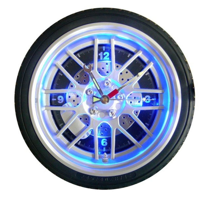 14 inch glowing clock Auto LED digital watch Home luminous wall clock personalized gifts wall clock plastic tire clock