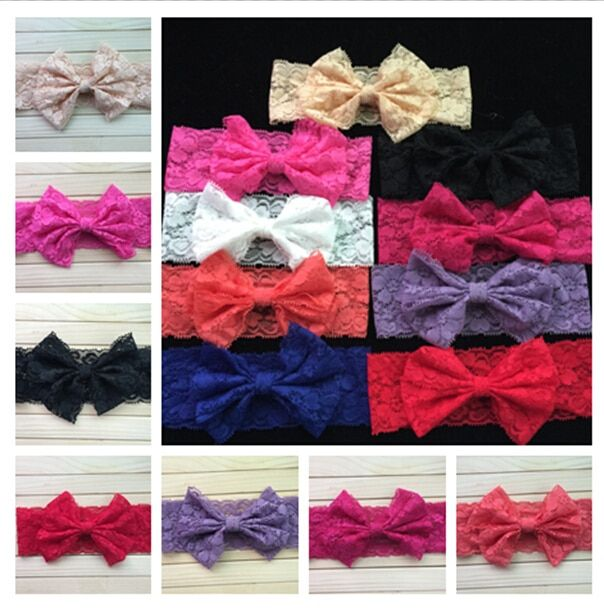 140pcs/lot DHL Free Lace Bow Headwrap Headband lace bow headband Vintage Head Wrap Photo Prop Hair Accessories