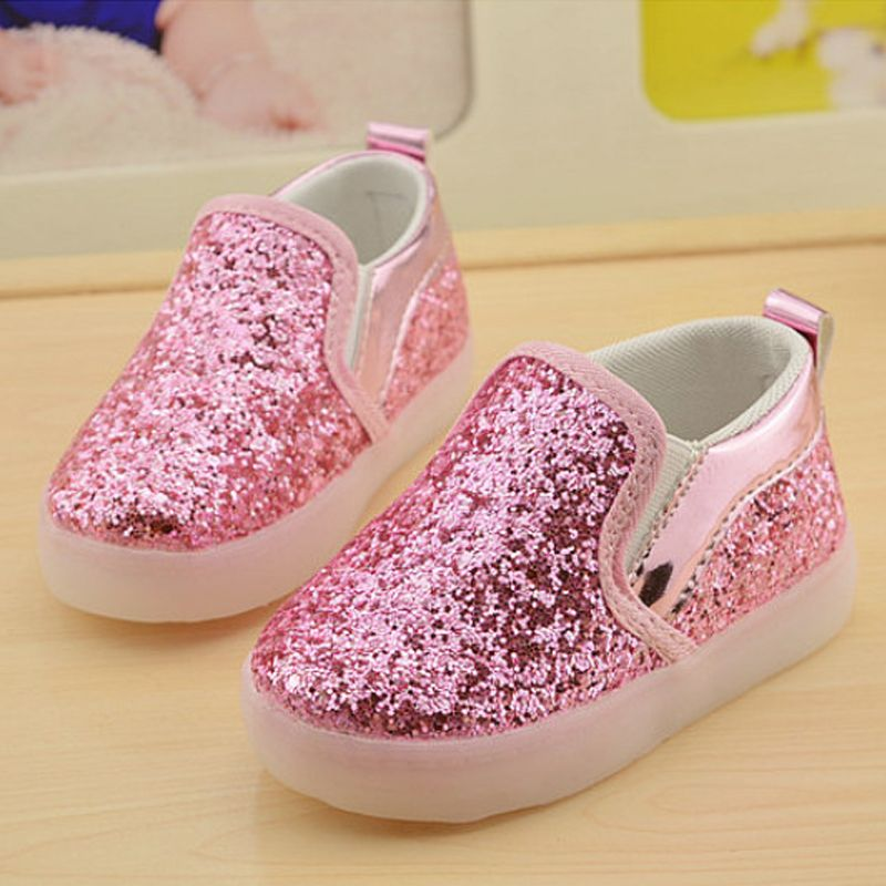 New Boys Girls Led Light Up PU Leather Children Shoes Luminous Glowing Flats Sneaker Sports Casual Running Kids Shoe Size 21-30