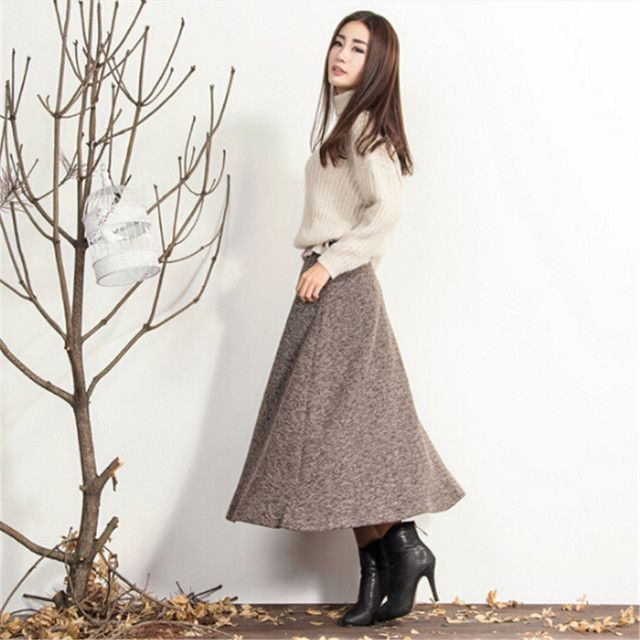 Plus Size XS-4XL Winter Long Skirt Women's Clothing High Waist Knit Tutu Skirt  Fashion Faldas Solid Winter Maxi Skirt C1372