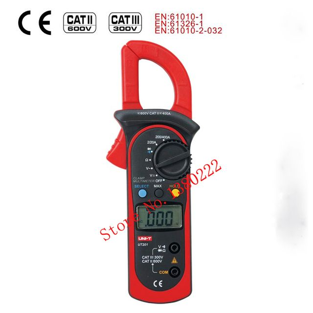 UNI-T UT201 LCD Digital Clamp Multimeter  Ohm DMM DC AC Voltmeter AC Ammeter Data Hold & LCD Digital