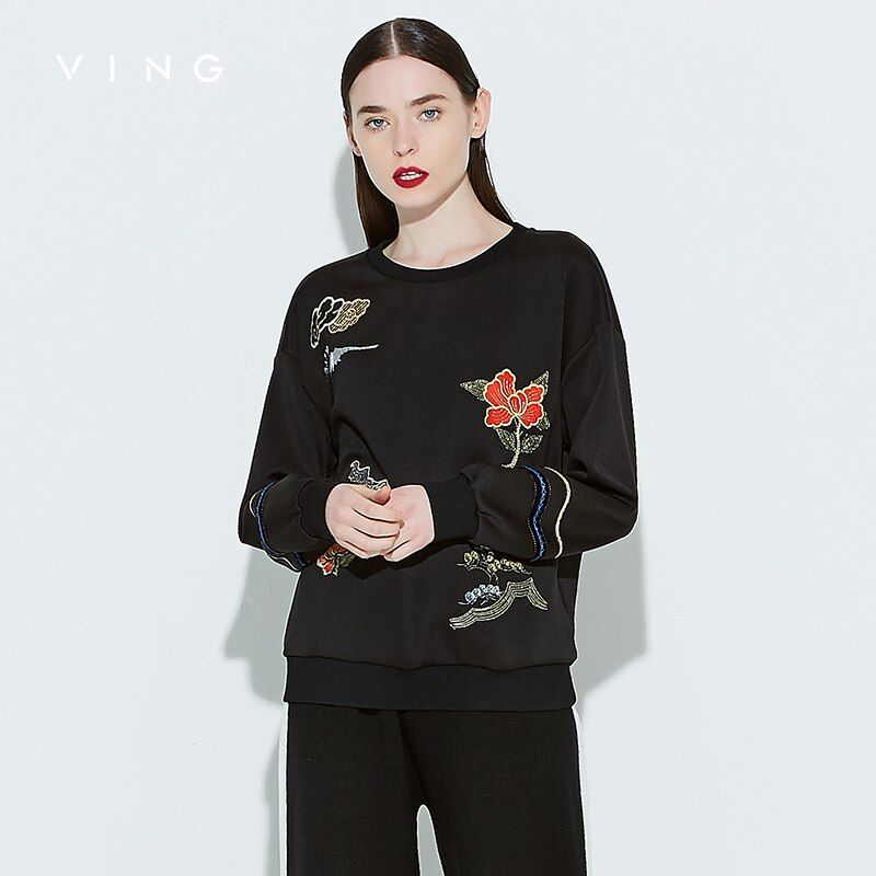 VING 2017 Autumn New Embroidered Chinese Wind Embroidery Flower Loose Casual Sweatershirts