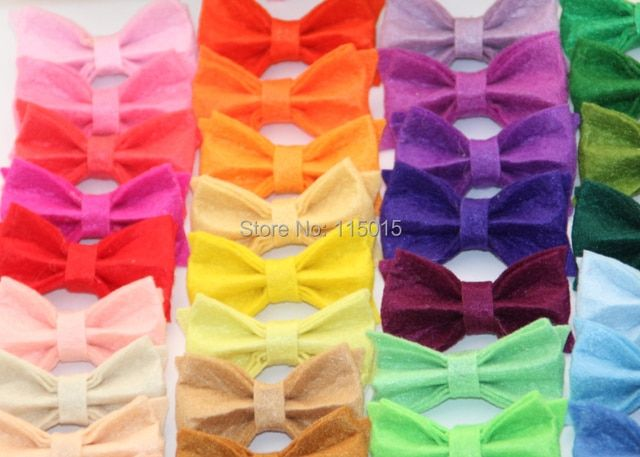 120pcs/lot New Arrival Tiny Felt Bows Without Clip Hair Accessories Clothing Accessories Hair Flowers Free Shipping ( 44colors )