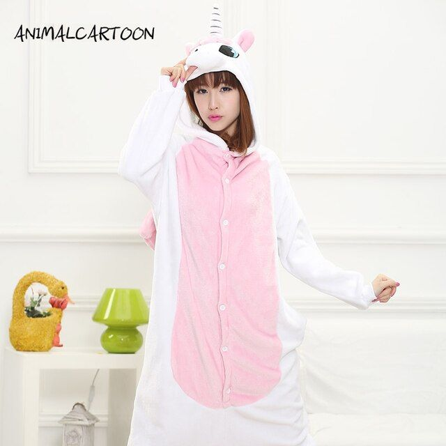 ANIMALCARTOON 2017 Cartoon Onesies Cute Pink Unicorn Autumn and Winter Flannel  Pajamas for Women adult Long Sleeve Pajama sets
