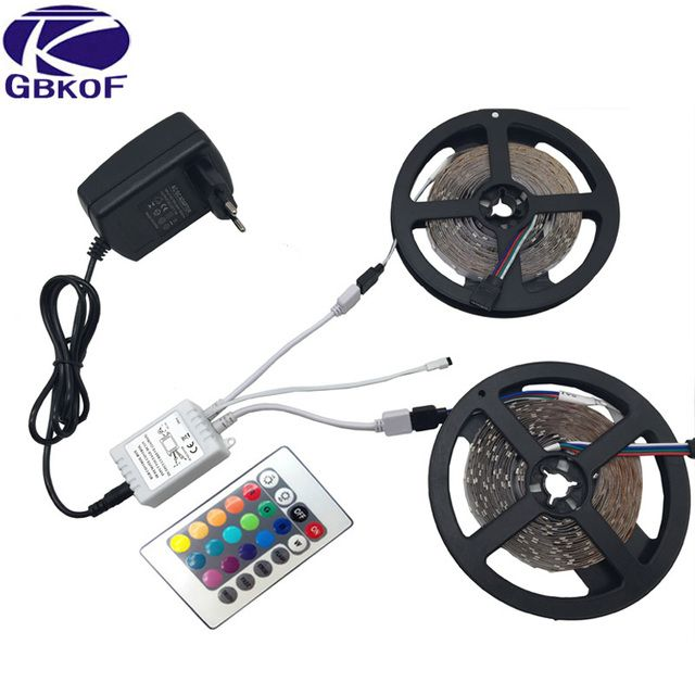 5m 10m RGB LED strip light 3528 SMD diode ribbon tape non waterproof 60leds/m+24Key remote controller+DC12V Adapter Power Supply