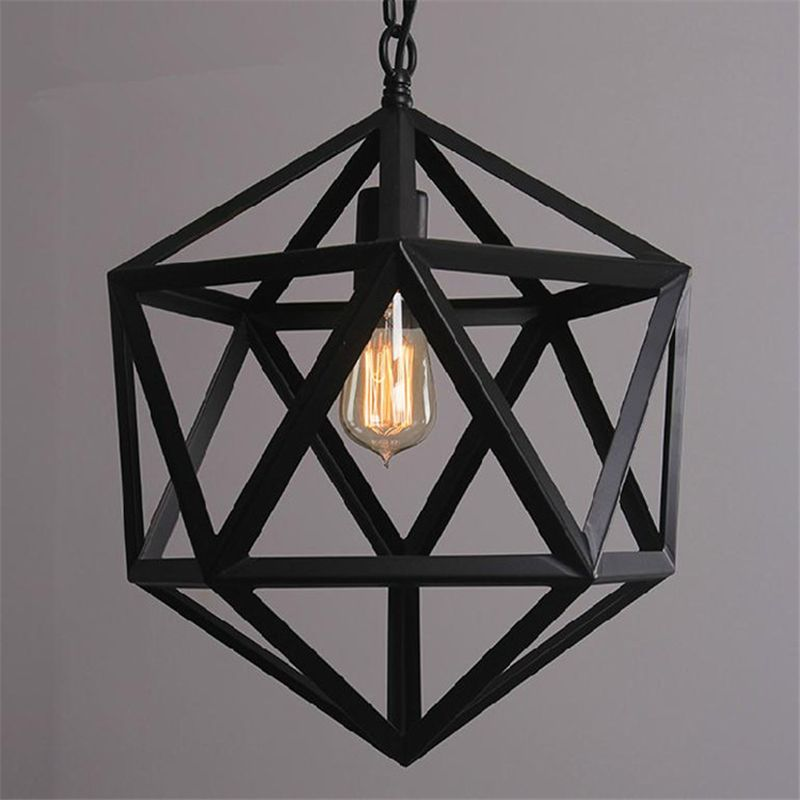 Dia.35/45/55cm Black Wrought Iron Loft Lamp Industrial Pendant Light Moroccan Rustic Vintage Light Fixtures for Room Restaurant