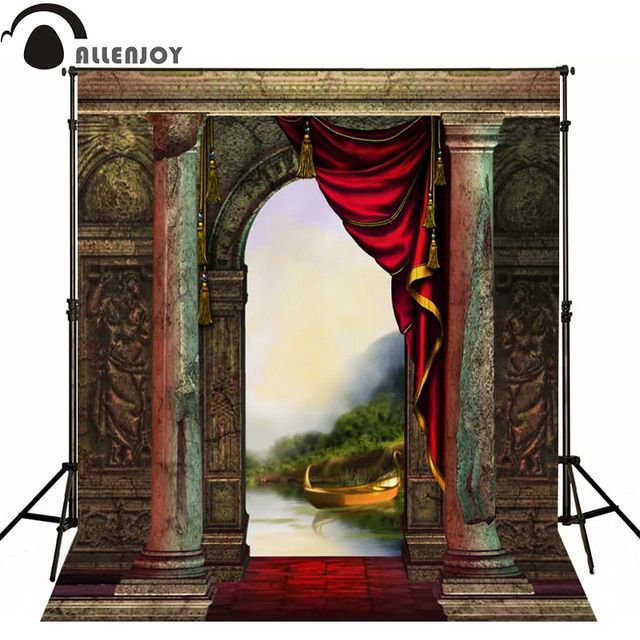 Allenjoy photographic background Arch boat castle stone curtain photo backdrops for sale fabric vinyl computer printing party
