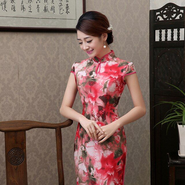 New Arrival Vintage Chinese Tradition Women's Silk Long Cheongsam Dress Charming Sexy Long Qipao Size S M L XL XXL  J28