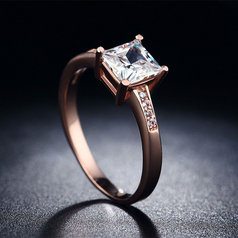 Rose Gold 585 Plated Rings For Women CZ Stone Mid Finger Engagement Ring Wedding Party Round Ring Female New Fashion Jewelry