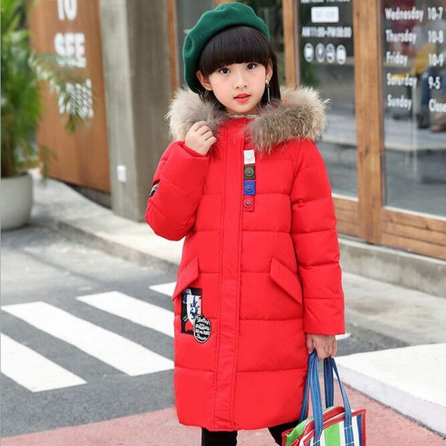 Winter 2017 New Children's winter Jackets Down Girl long Coat Big Fur Collar Thicker Warm Down & Parkas Fit 5-13Y