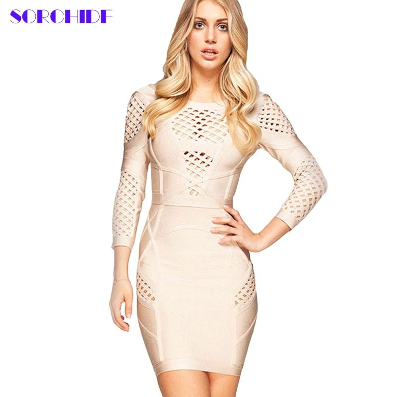 SORCHIDF women Bodycon Dress Hollow Out sexy  Party Mini Dress open back dresses Vestidos Solid Bandage Dress