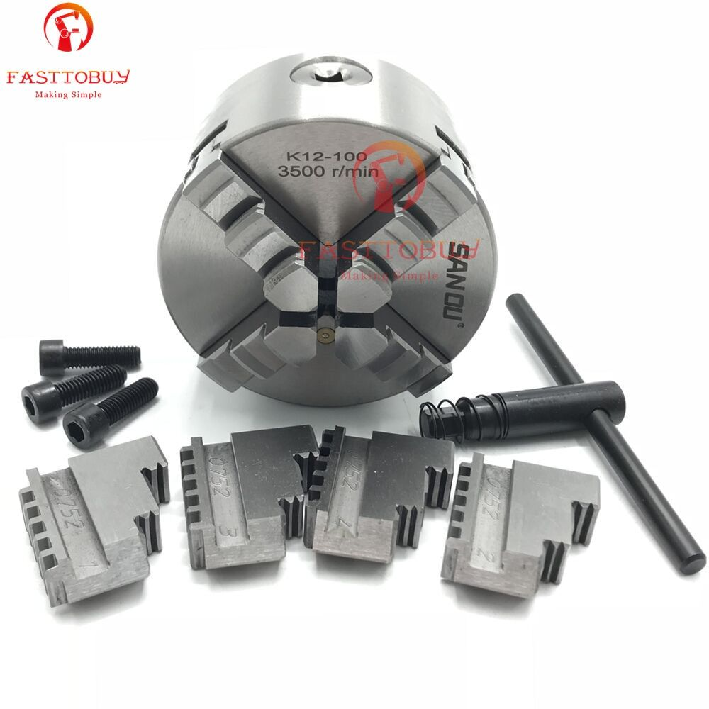 "4"" 100mm 4 Jaw CNC Lathe Chuck Self-Centering K12-100 K12 100 Hardened Steel for Drilling Milling Machine"